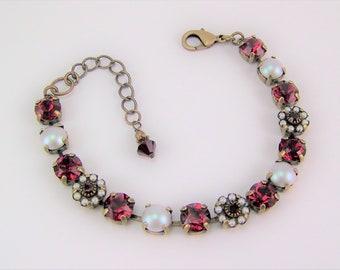 Ruby Crystal Bracelet, Tennis Bracelet, Swarovski Flower Bracelet, Chaton Bracelet, Cup Chain Bracelet, Mariana Bracelet,Pearl Bracelet,39ss