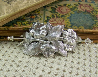 Shawl Pin, Scarf Pin, Sweater Pin, Flower Shawl Pin, Flower Scarf Pin, Crystal Stick Pin, Flower Bouquet Pin, Silver Flower Pin, Flower Pin