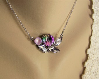 Lavender Delite Necklace and Earrings Set, Light Vitrial Necklace, Swarovski Crystal Necklace, Lavender Rivoli Necklace, Swarovski Earrings