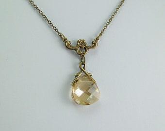 Topaz Necklace, Gold Topaz Necklace, Light Gold Topaz Necklace, November Birthstone, Topaz Teardrop, Topaz Briolette,Swarovski Golden Shadow