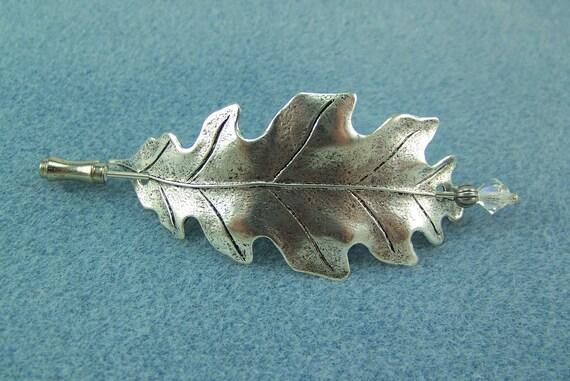 Copper shawl pin Red oak leaf brooch.