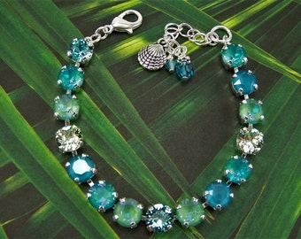 Swarovski Crystal Bracelet, 8mm Tennis Bracelet, Seaside Bracelet, Blue Crystal Bracelet, Laguna Delite, Ocean Delite, Beach Ocean Bracelet