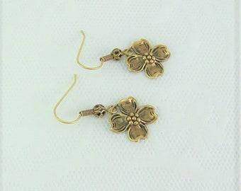 Dogwood Flower Earrings, Gold Dogwood Earrings, Spring Earrings, Flower Earrings, Flower Petal Earrings, Dogwood Earrings