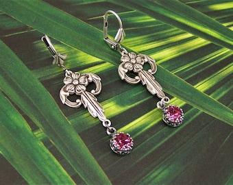 Rose Crystal Earrings, Swarovski Crystal Earrings, Crown Set Rose Crystals, Flower Earrings, October Birthstone Earrings, Dogwood Flowers