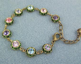 Swarovski Crystal Bracelet, Tennis Bracelet, Chain Link Bracelet, Colorful Crystal Bracelet, Garden Bracelet,Swarovski Emerald Halo Bracelet