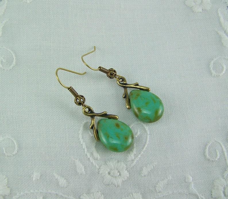 Czech Glass Teardrops Turquoise Green Czech Glass Earrings Turquoise Picasso Glass Picasso Earrings Picasso Glass Turquoise Earrings