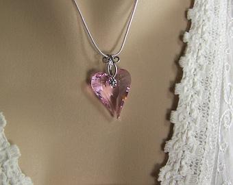 Pink Heart Necklace, Wild Heart Necklace, Swarovski Heart Necklace, Sweetheart Pendant, Pink Valentine Heart, 27mm Pink Rosaline Wild Heart