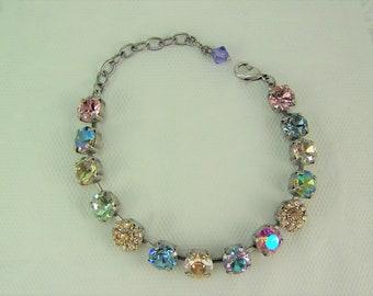 Swarovski Crystal Bracelet, Tennis bracelet, Cup Chain Bracelet, Chaton Bracelet,Mariana Bracelet,Swarovski Flower Bracelet,Rose Garden,39ss