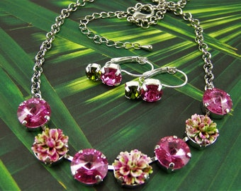 Swarovski Crystal Necklace, Cup Chain Necklace, Rose and Green Necklace, Flower Necklace,Pink Carnation Necklace,12mm Rose Crystal Necklace