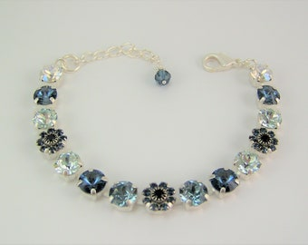 Denim Blue Bracelet, Swarovski Crystal Bracelet, Swarovski Flower Bracelet, Cup Chain Bracelet, Chaton Bracelet,Mariana Bracelet,London Blue