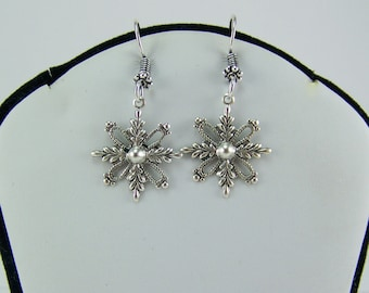 Snowflake Earrings, Silver Stamped Snowflake, Winter Earrings, Snow Earrings, Snowflake, Medallion Earrings,