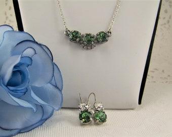 Swarovski Erinite Set, Necklace Earrings Set, Emerald Necklace, Emerald Earrings, Erinite Crystal Necklace and Earrings, Halo Set Necklace