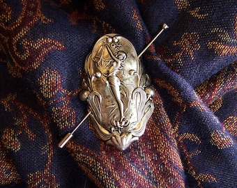 Shawl Pin, Scarf Pin, Sweater Pin, Silver Maiden Pin, Art Nouveau Pin, Dancing Girl Pin, Maiden, Silver Stick Pin, Fairy Pin, Forest Nymph