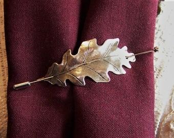 Silver Oak Leaf Pin, Shawl Pin, Scarf Pin, Oak Leaf Pin, Sweater Pin, Oak Leaf Shawl Pin, Leaf Pin, Stick Pin, Silver Leaf, Boutonniere,