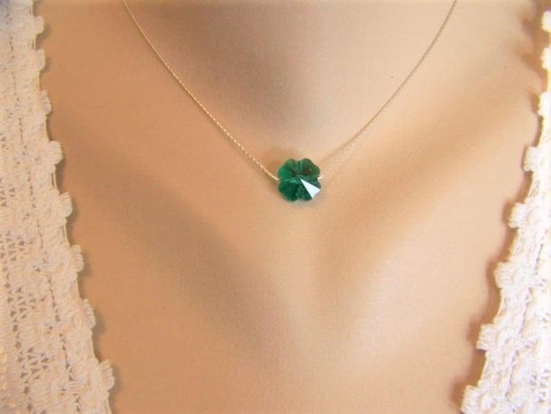 b6fdfaca3fb28 Shamrock Necklace, Four Leaf Clover, Swarovski Crystal, Crystal Shamrock  Necklace, St Patrick's Day, Emerald Crystal Necklace