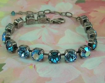 Aquamarine Bracelet, Cup Chain Bracelet, Blue Zircon Bracelet, March Birthstone, Tennis Bracelet, Swarovski Chatons, Mariana Bracelet, 39ss