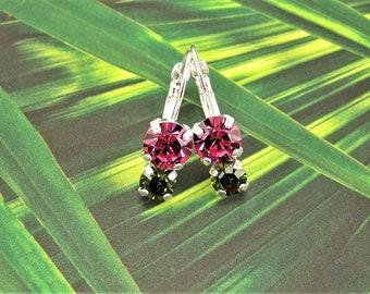 Rose Crystal Earrings, Swarovski Crystal Earrings, Double Cup Earrings, Rose Olivine Earrings, Swarovski Garden Earrings, Chaton Earrings