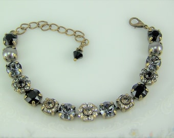 Black Crystal Bracelet, Tennis Bracelet, Swarovski Flower Bracelet, Chaton Bracelet, Cup Chain Bracelet, Mariana Bracelet, Gray Pearls, 39ss