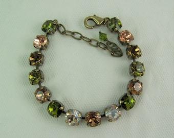 Swarovski Crystal Bracelet, Tennis Bracelet, Chaton Bracelet, Cup Chain Bracelet, Amber Bracelet, Olive Green Bracelet,Swarovski Chaton,39ss