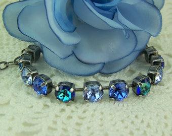 Sapphire Bracelet, September Birthstone, Cup Chain Bracelet, Tennis Bracelet, Swarovski Crystal Bracelet, Blue Sapphire, Mariana Bracelet