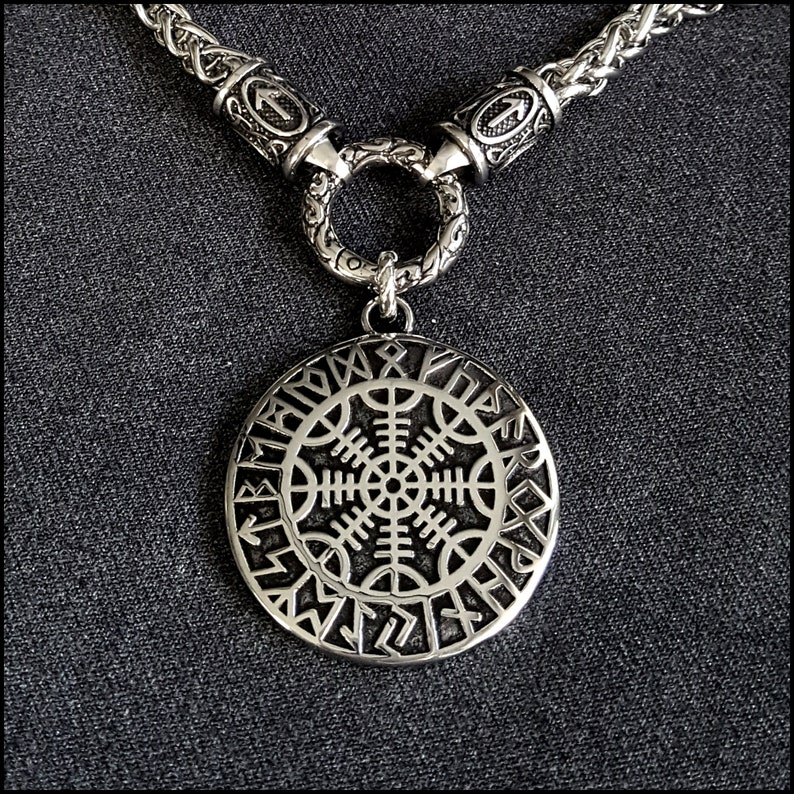The Warrior/'s Necklace Featuring Bright Polished Viking Braid Chain wTiwaz Rune Ends With Viking Helm of Awe pendant Gift Boxed