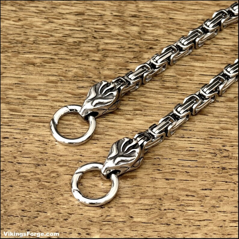 Superior Quality Stainless Steel Byzantine Square Multipurpose Chain  Necklace, Wallet Chain, Bag Chain, Etc  With Tribal Flame Terminators