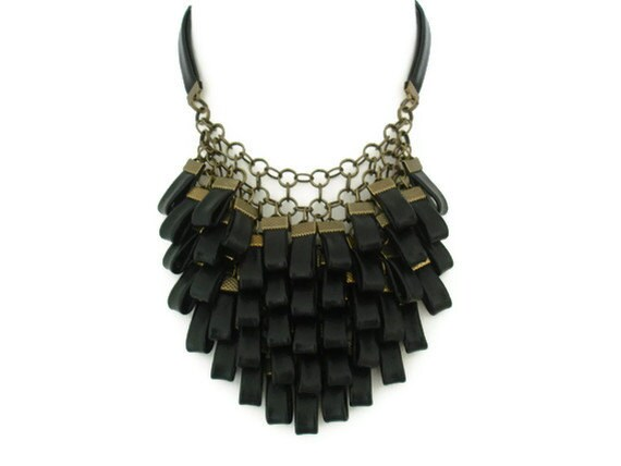 Bold Necklace Gift for Her Black Leather Bib Necklace Leather Jewellery Large Bib Necklace Statement Necklace Edgy Necklace