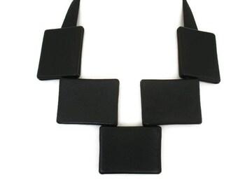 Large Necklace, Black Leather Bib Necklace, Statement Necklace, Bold Necklace,  Edgy Necklace, Gift for Her