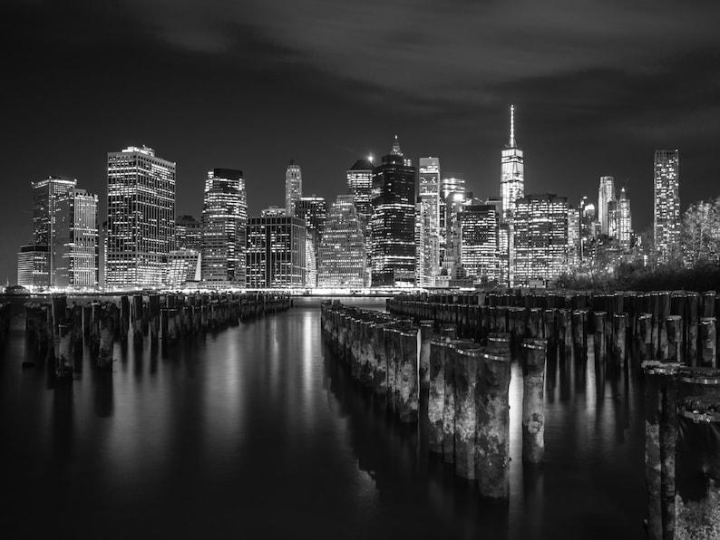 New York City Skyline Night Photography Black And White Nyc Etsy