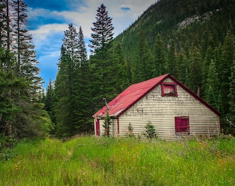 Red Rood Cabin, Landscape Photography, Colorado Photography, Cabin, Red, House, Wall Art, Fine Art Photography, Home Decor