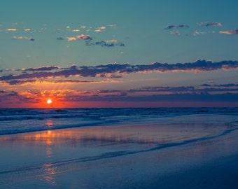 Florida Sunrise, Beach Photography, Clouds, Sky, Seascape, Gift Idea, Fine Art Photography, Blue Wall Decor, Ocean, Beach House Decor