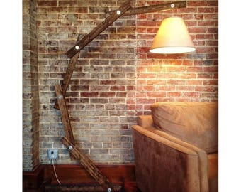 Dark Walnut Rustic Wood Floor Lamp