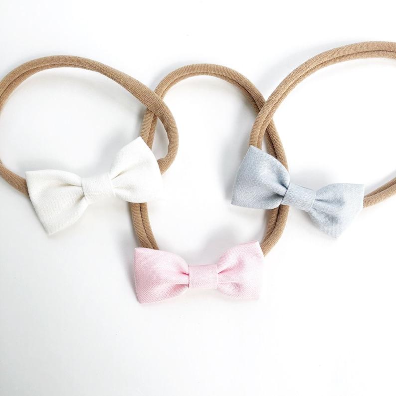 Newborn Baby Toddler Girls Small Bow Fabric Headband Nylon Hair Clip Accessories
