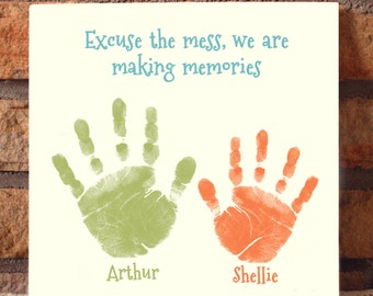Excuse the Mess-Memories Handprint Plaque 809_plq