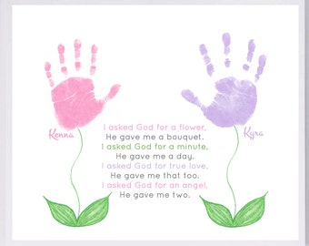 Flower With Stem Handprint Wall Art 601_pap