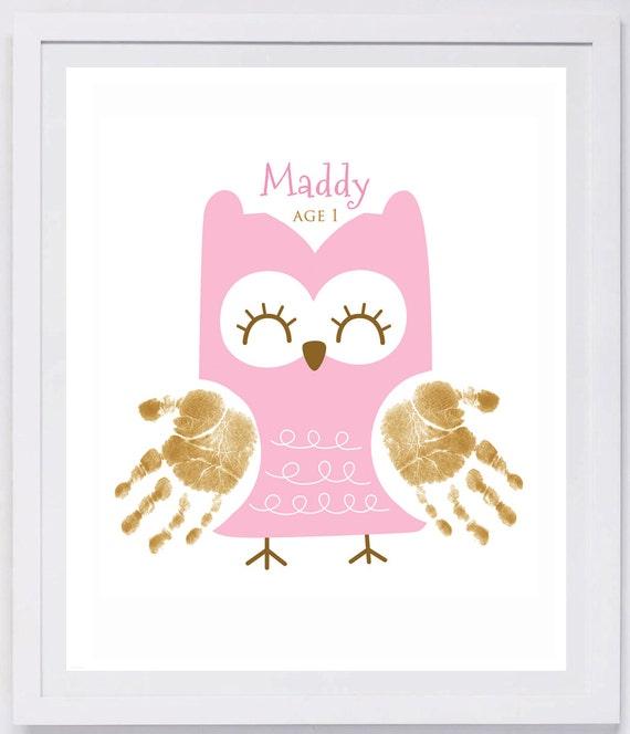 Owl Handprint Wall Art 406_paper | Etsy