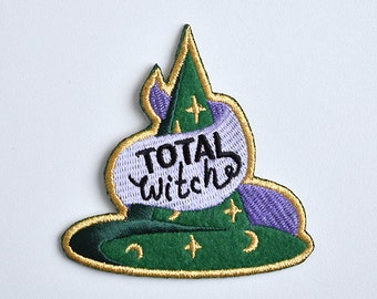 Iron on patch // Total Witch // Witchcraft // Witch hat // Magic // cute funny felt patch for your jacket