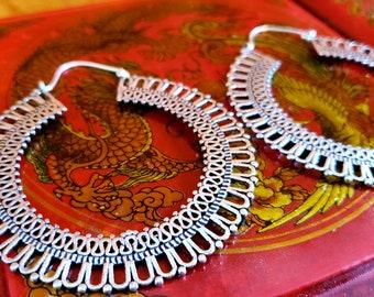 Large Statement Silver Hoop Earrings