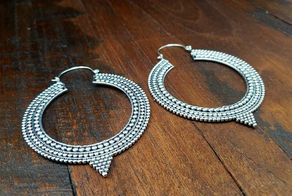 Large Silver Statement Hoop Earrings - image 1