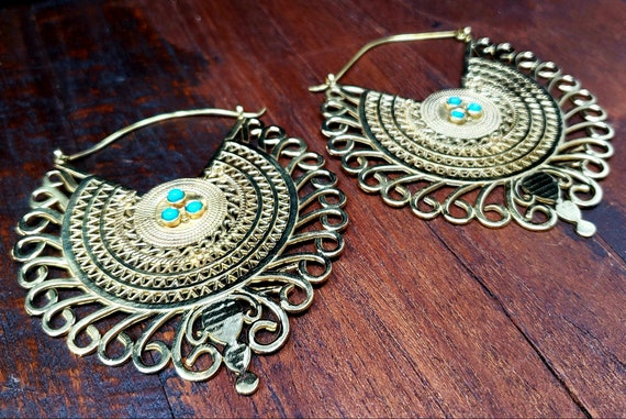 Gold Empress Turquoise Statement Hoop Earrings - image 2