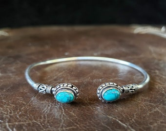 Simple Silver Turquoise Bangle Bracelet - Tribal Gemstone Crystal Festival Boho Jewelry
