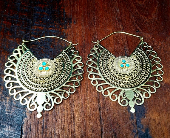 Gold Empress Turquoise Statement Hoop Earrings