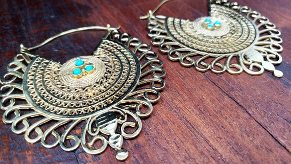 Gold Empress Turquoise Statement Hoop Earrings - image 3