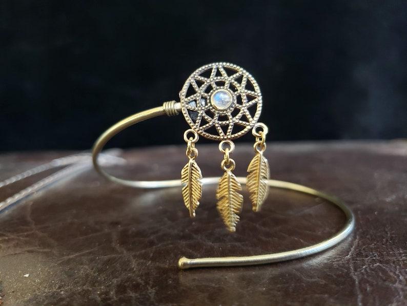Gold Moonstone Dream Catcher Arm Band Upper Arm Band Brass Tribal Gemstone Crystal Bohemian Festival Bracelet Jewelry