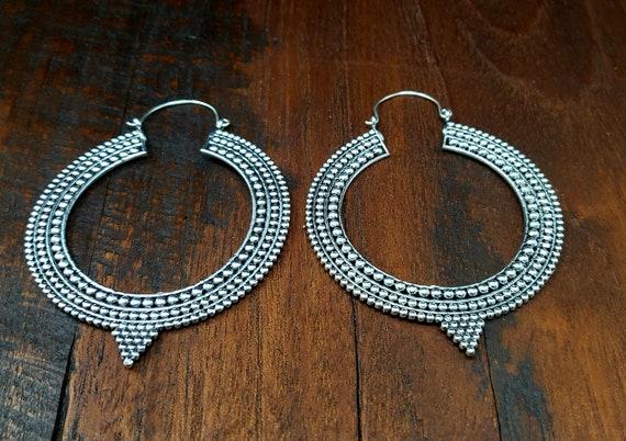 Large Silver Statement Hoop Earrings - image 2