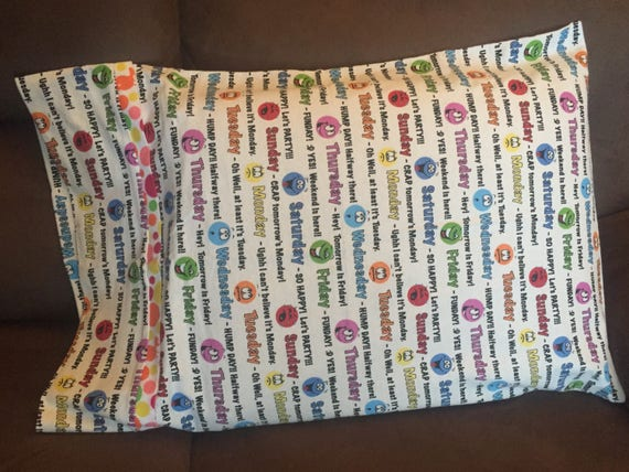 Pillowcase  Days of the week  Sunday  Monday  Tuesday  Wednesday  Thursday   Friday  Saturday  Flannel  Fabric  Gift  Bedroom  Soft  Sewing