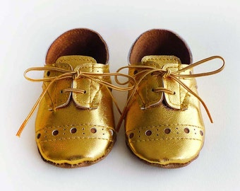 Baby Girl or Boy Shoes Gold leather Soft Sole Shoes Oxford Wingtips Wing tips