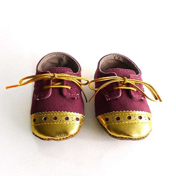8e0167fd9a9fd Baby Girl Toddler Shoes Burgundy Canvas with Gold Brogued Leather Soft Sole  Shoes Oxford Wingtips Wing tips
