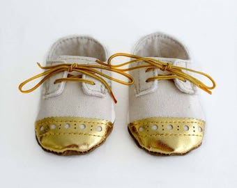 """Baby Boy or Girl Toddler Shoes """"Natural"""" Canvas with Gold Brogued Leather Soft Sole Shoes Oxford Wingtips Wing tips"""