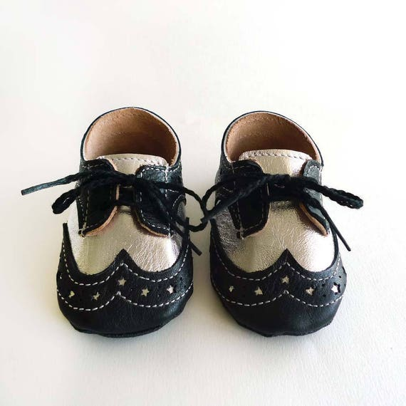 9fa4122371e31 Baby Boy or Girl Shoes Black and Silver Leather Soft Sole Dress Shoes  Oxford Wingtips Wing tips